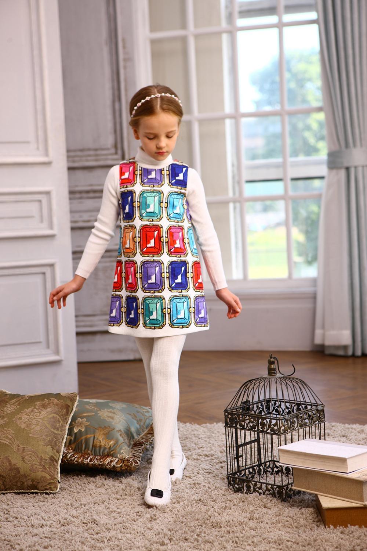 Здесь можно купить  Fashion Kids Girls Dress Diamond Printing Sundress Cotton  A Line Vest Dresses Girl Clothe Fashion Kids Girls Dress Diamond Printing Sundress Cotton  A Line Vest Dresses Girl Clothe Детские товары