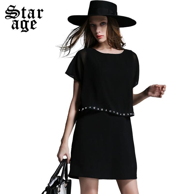 XL-5XL Brand Women Rivet Beaded Chiffon Patchwork Dress Plus Size Black Summer Short Sleeve Knee Length Casual Dresses 1977(China (Mainland))