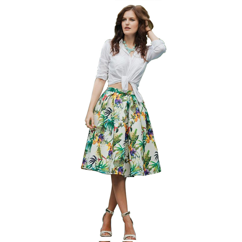 2016 New Fashion Women Colorful Print Cute Summer Vintage Midi Skirt Vestidos MKS-SJ0039 - The Shop store