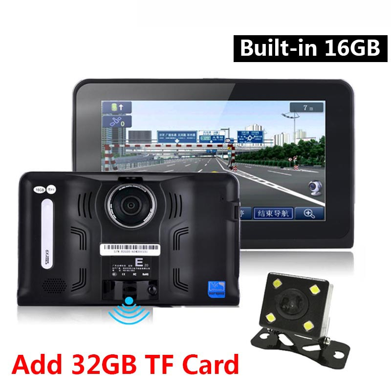 7 inch Car DVR GPS Navigation Android Radar Detector 1080P DVR 16GB Truck vehicle gps navigator navitel with Rear view camera(China (Mainland))