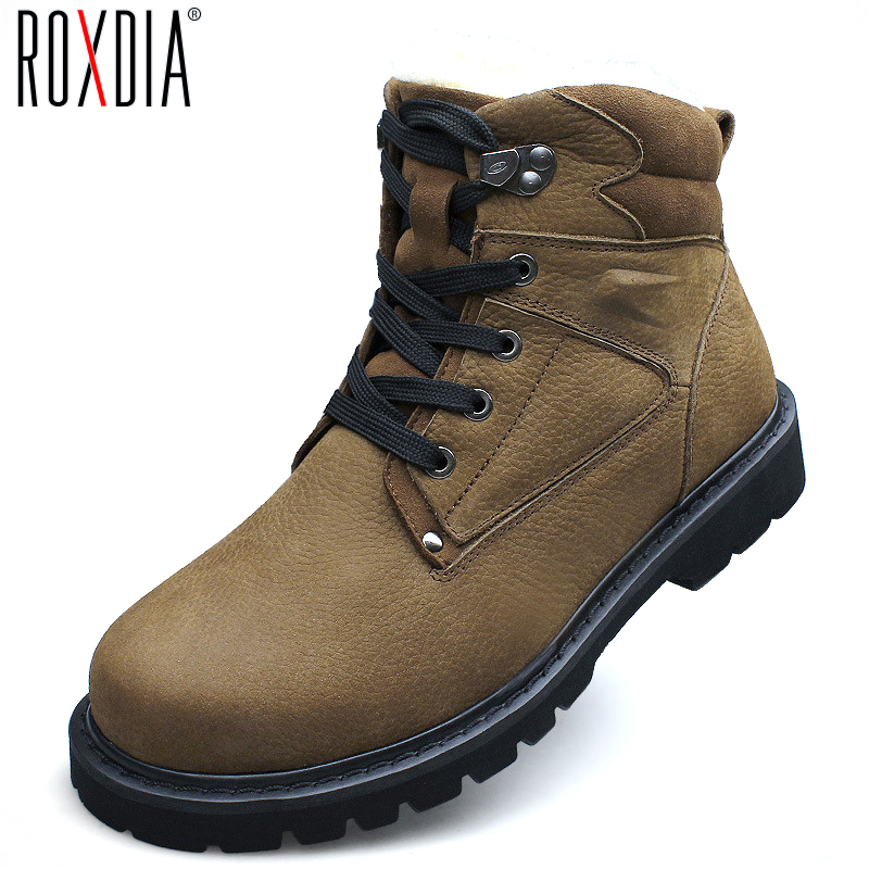 big size genuine leather boots winter mens snow boot
