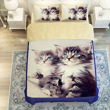 3D Oil twin size cat bed linen,3/4pc duvet cover without filler,100% Polyester Queen King Cat Bedding Sets Cover Sheet (China (Mainland))