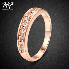 Classic 18K Rose Gold Plated Crystal Wedding Ring anel TOP Class 9 pcs Rhinestones Studded Jewelry Ring For Women bijoux R062(China (Mainland))