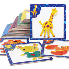 3D Magnetic wooden Puzzle 3pcs/lot jigsaw puzzle for children early education wooden toy cartoon animals puzzles free shipping