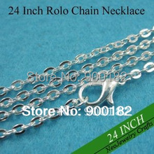 24 inch Shiny Silver Rolo Chain Necklaces, 60cm Metal Necklace Chains, Silver Antique Style Chain with Lobster Clasp Connected(China (Mainland))