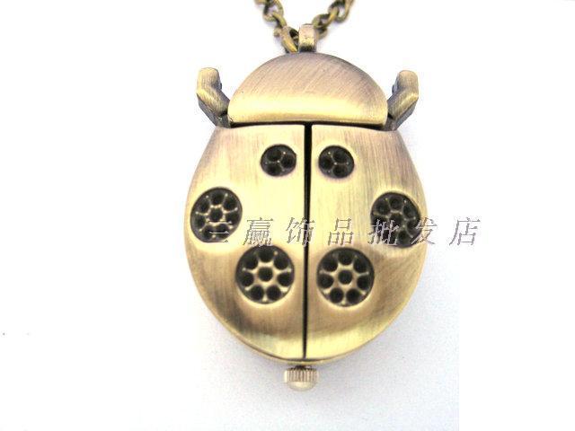 Vintage round flowers beetle cartoon pocket watch series necklace pocket watch rahb424