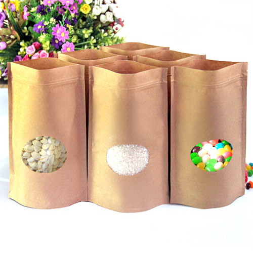 Brown 14*19cm Doypack Ziplock Kraft Paper Pouch 100Pcs/ Lot Heat Seal Stand Up Pack Bag Food Snack Storage With Ellipse Window(China (Mainland))