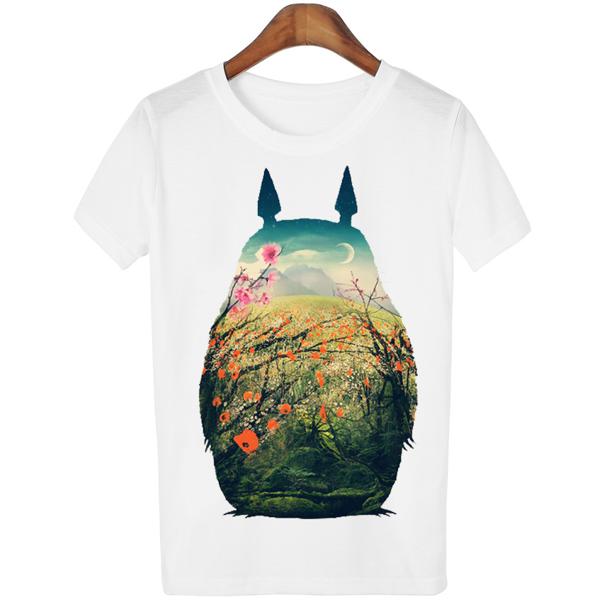 Peach Blossom Totoro Summer 2016 T Shirt Women Casual Fashion Cartoon White Top Tee 3D Print Plus Size Clothing(China (Mainland))
