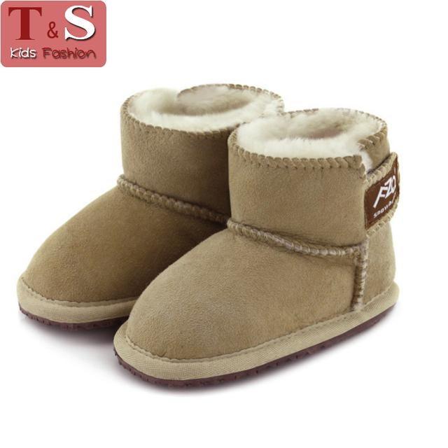 2016 новых детей ботинки для детского мальчики теплая зима овчины шерсть природа ...