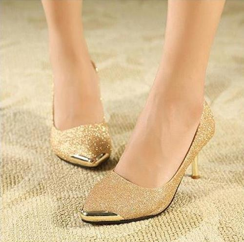 2016 new pointed high-heeled Women shoes thin OL shallow mouth singles gold wedding Pumps 67 - Hangzhou Dolda Tech. Co., Ltd. store
