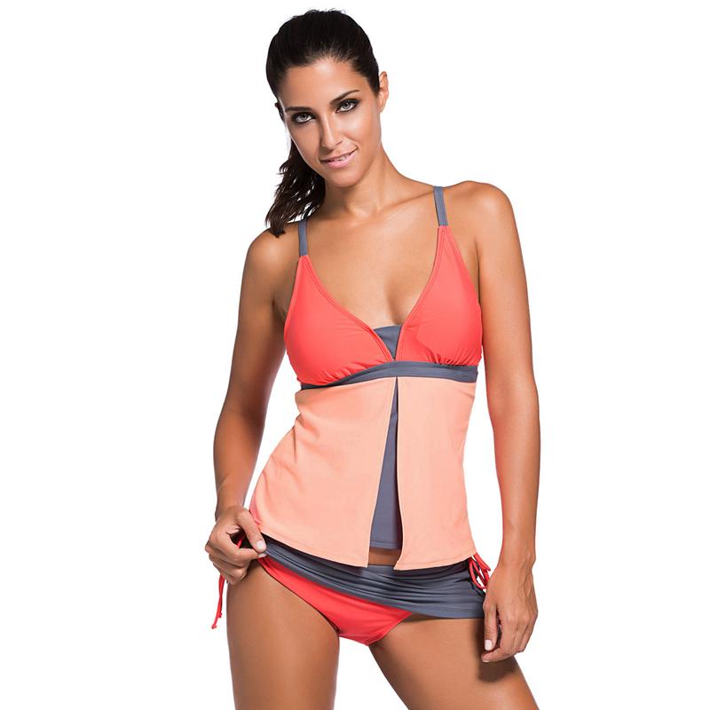 Aleumdr Hot Sale Swimsuit Women Colorblock Tankini Skort Bottom Bikini Sets Beach Wear Swimwear Bathing Suit Two Pieces 41965