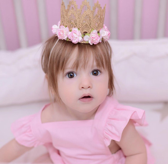 Vintage Lace Crown Headband Gold Baby Headband Flower Headband Smash Cake Outfit Hair Accessories(China (Mainland))