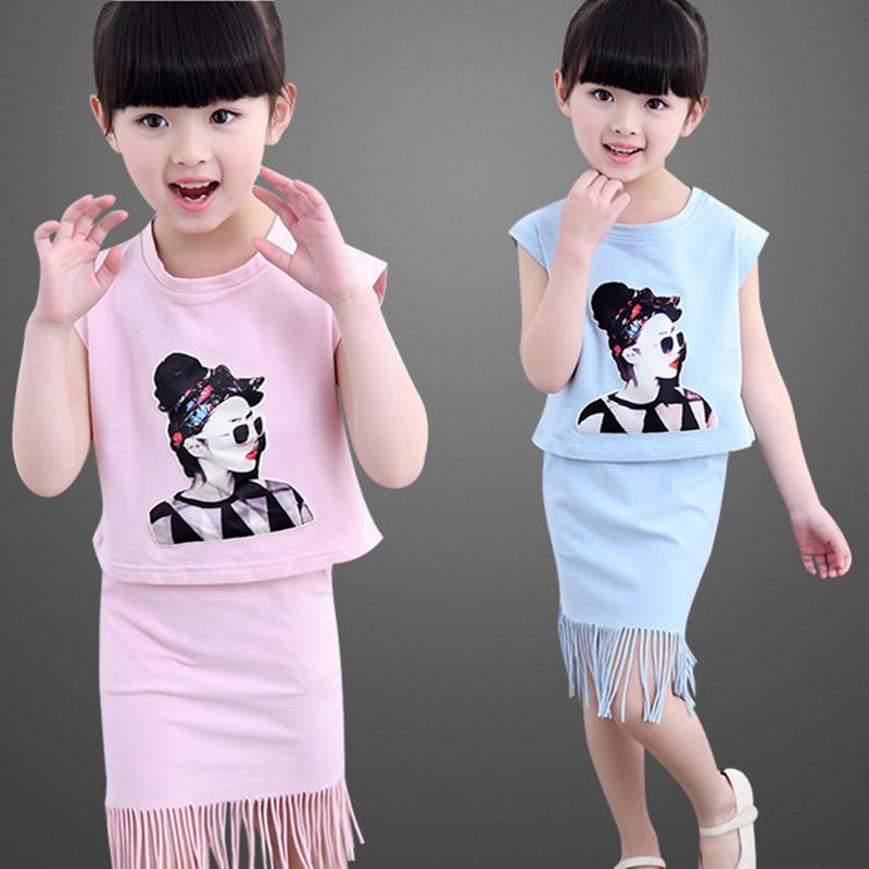 2016 summer new explosion models girls suit cartoon characters, cartoon sleeveless tassel Straight Skirt + 3-10 year-old girl(China (Mainland))