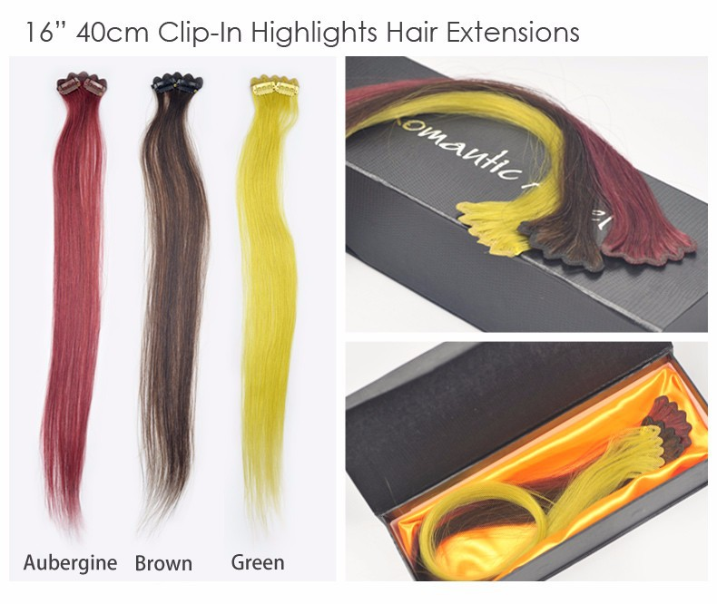 16 inches/40cm 6A Grade High Quality 100% Remy Human Hair Clip-In Highlights Colourful Clip On Hair Extensions 1pc 4.5g 10g 13g