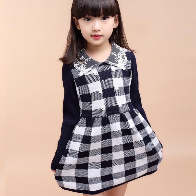 2016 New Style Spring Autumn Kids Girls Cotton Wool Plaid