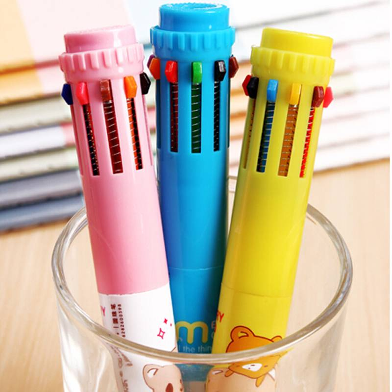 Free Shipping Stylish Retractable 10 in 1 Plastic Office School Writing Ballpoint Pen 1pc New<br><br>Aliexpress