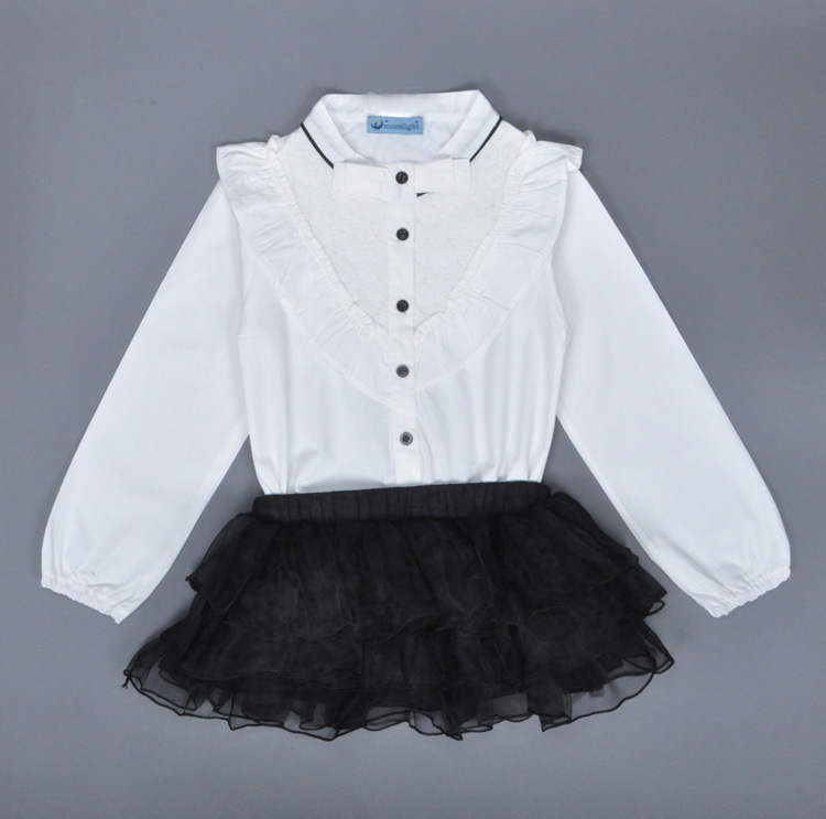 Fashion Summer girls white lace long sleeve cotton t shirt+ black lace tutu skirts suit new design children's clothing A050402(China (Mainland))