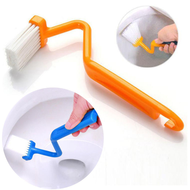 Portable Toilet Brush Scrubber V-type Cleaner Clean Brush Bent Bowl Handle(China (Mainland))