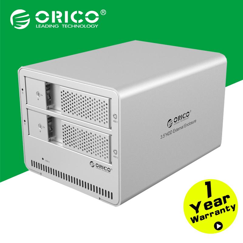 ORICO 9528U3-SV 2-bay USB3.0 Aluminum 3.5'' External SATA HDD Enclosure Support 2*8TB Storage(China (Mainland))