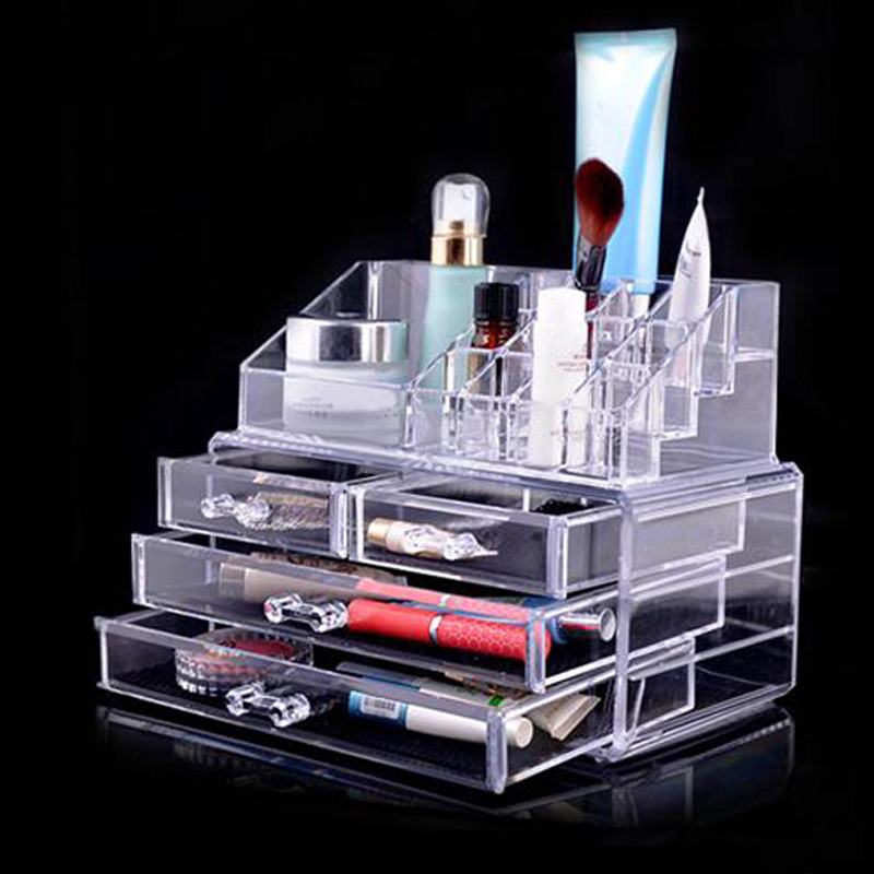 High Quality Acrylic Clear Cosmetic Organizer Make Up Case Lipstick Brush Holder Drawer Free Shipping<br><br>Aliexpress
