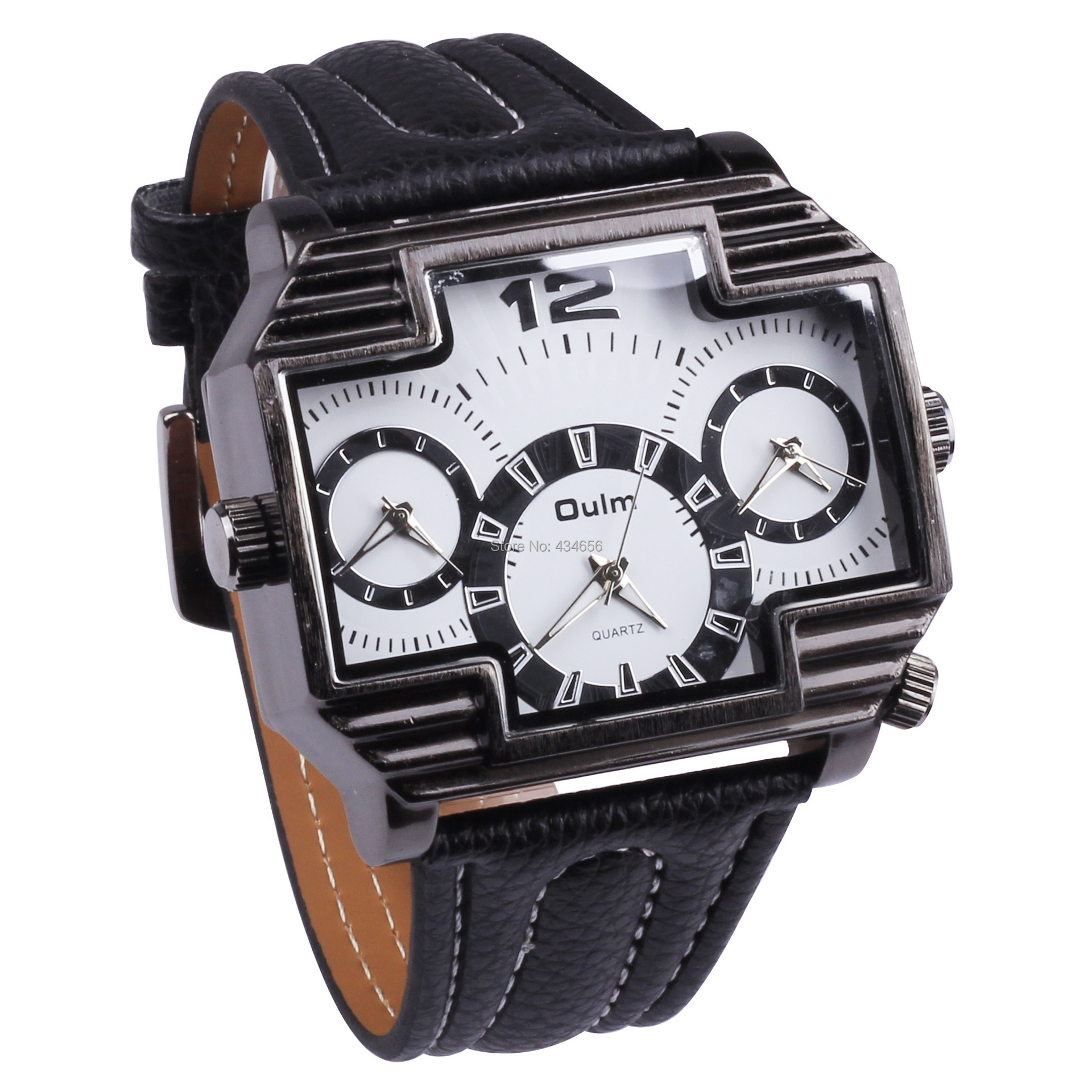 New Arrival Oulm Three Time Zone Fashion Watches Men European Style Business Vintage Big Face