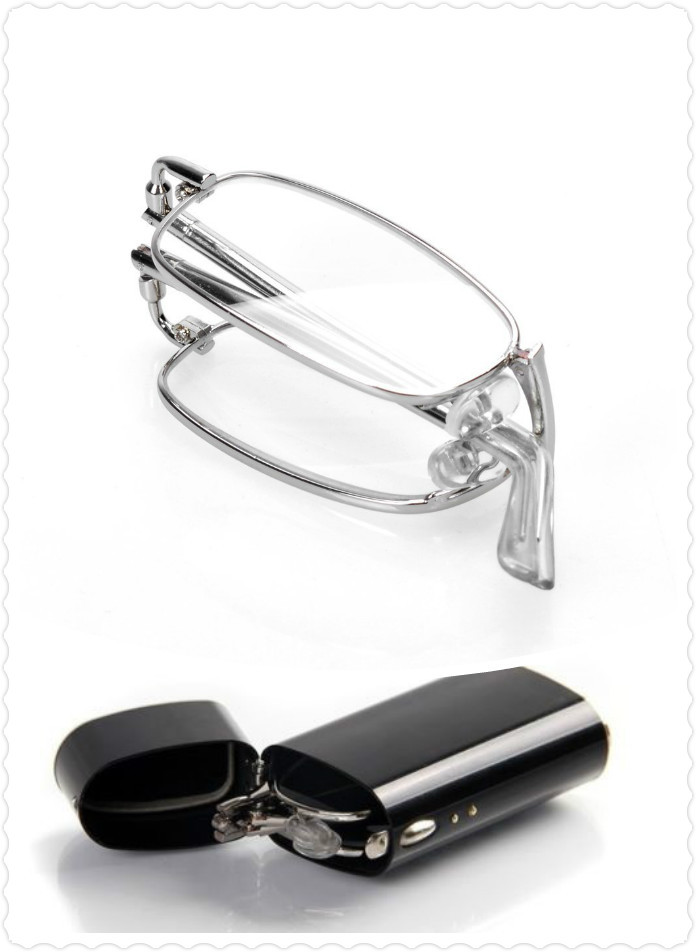 Folding Reading Glasses Eye Care Reader Glasses with Flip Top Aluminum Case Anti-fatigue Reading Glasses Free Shipping(China (Mainland))