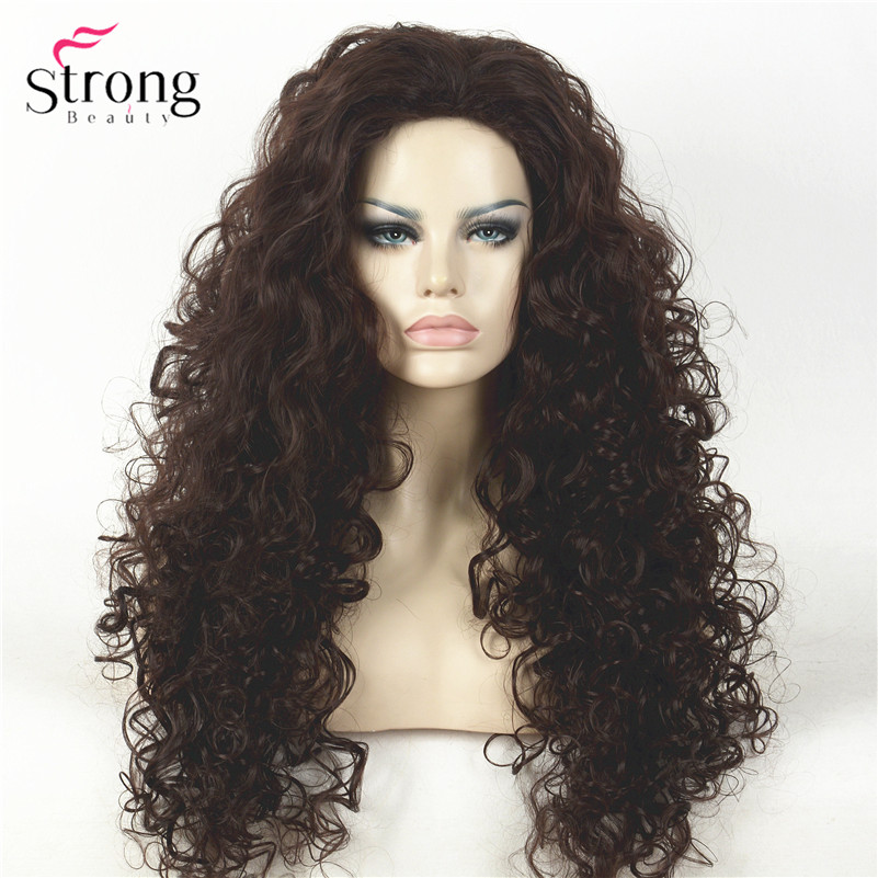 D0210A 2-33 Dark Brown Curly Afro Full Synthetic Wig Wigs(1)