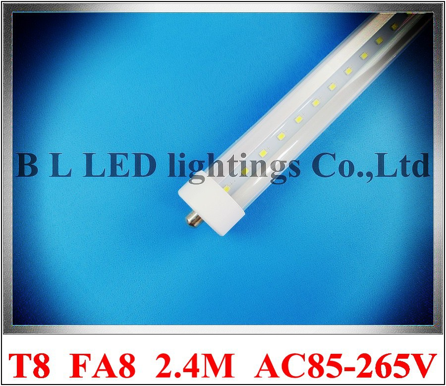 FA8 single pin LED tube light lamp LED fluorescent light tube T8 2400mm 2.4M 8ft FA8 SMD2835 192 led 4800lm 40W AC85-265V(China (Mainland))