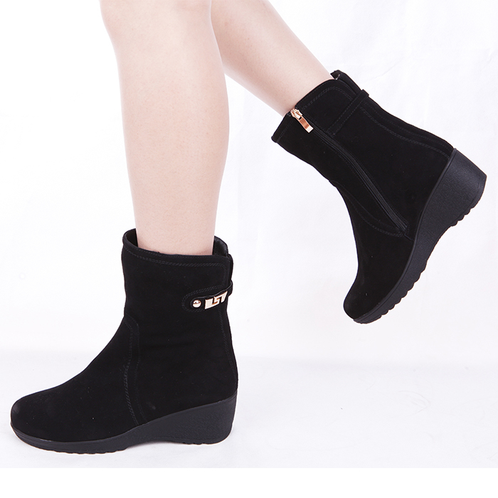 2015 winter shoes New boots Nubuck leather slope size 34-42 Side zipper Buckle Black Boots - yuxigongzfu store