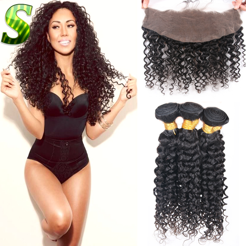Brazilian Deep Curly Virgin Hair With Closure 13x4 Lace Frontal With 3 Bundles Brazilian Curly Hair Weave Bundles With Closure<br><br>Aliexpress