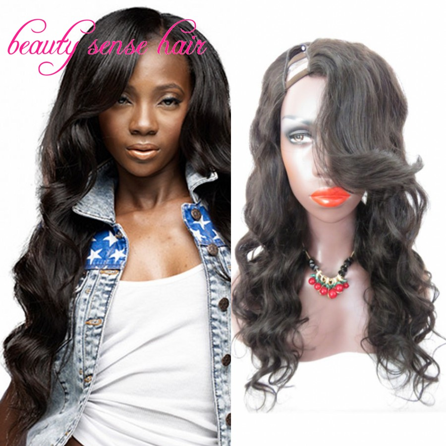 Instock Brazilian U part wigs side Part Bangs Wavy Unprocessed Human hair Wigs Black women - Top-level beauty sense human store