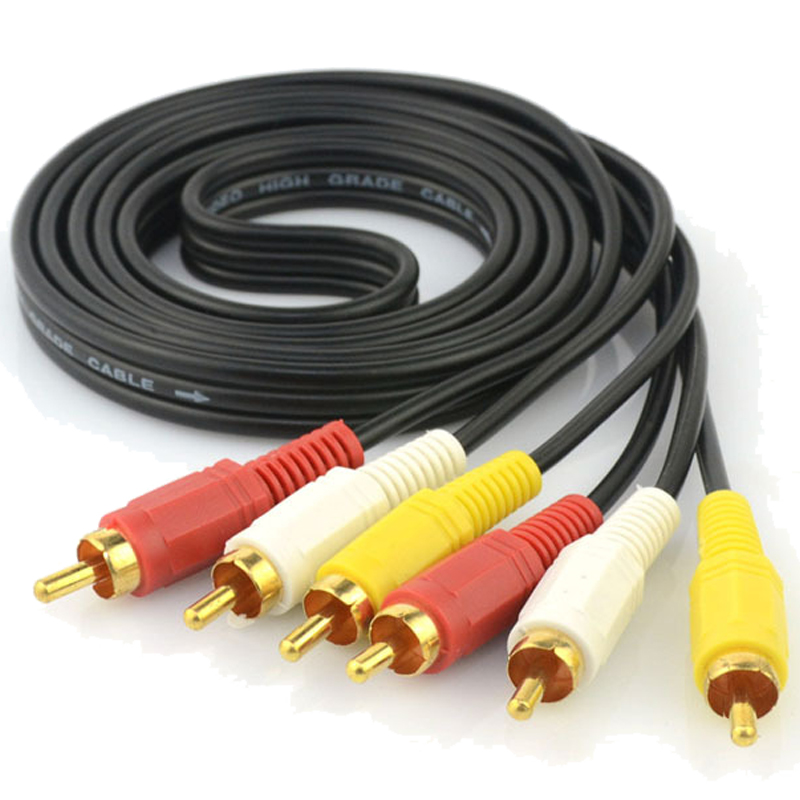 5FT 3RCA AV A/V Audio Video Gold Plated Male Cable Colored Composite VCR DVD TV(China (Mainland))