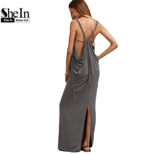 SheIn Womens Sexy Long Dresses Summer Ladies Plain Grey Sleeveless V Neck Backless Cut Out Split Shift Maxi Dress(China (Mainland))