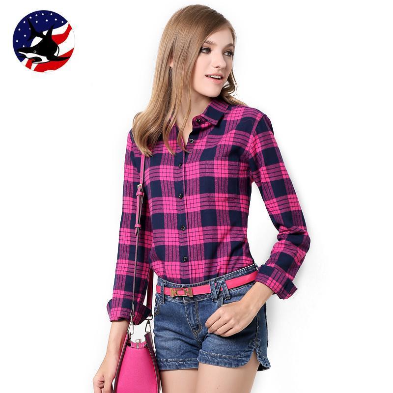 Womens Pink Plaid Shirt