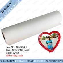 Sticky back Sublimation heat transfer paper sticky sublimation transfer paper 160cm*100m/roll(China (Mainland))