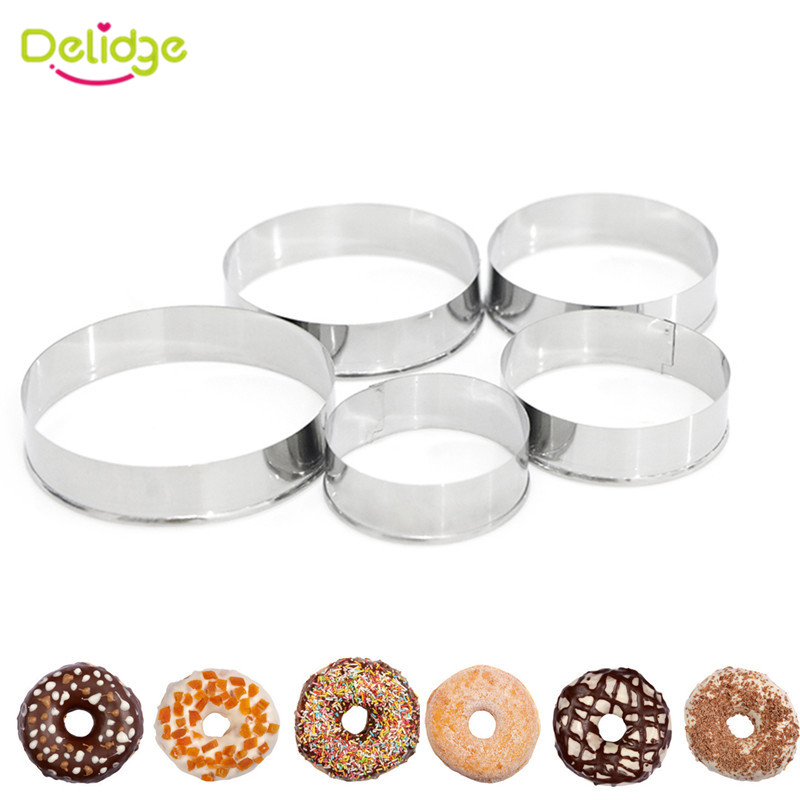 Delidge 5Pcs/set Stainless Steel Round Circle Cookie Mousse Cake Ring Cake Gum Paste Mould Layer Slicer DIY Christmas Cake Tools(China (Mainland))
