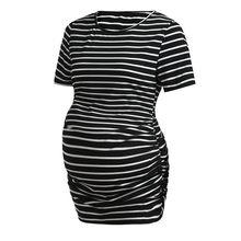 Рубашка с короткими рукавами круглым вырезом модные черно-белый полосатый беременных Для женщин для отдыха Топы Повседневная одежда блузк...(China)