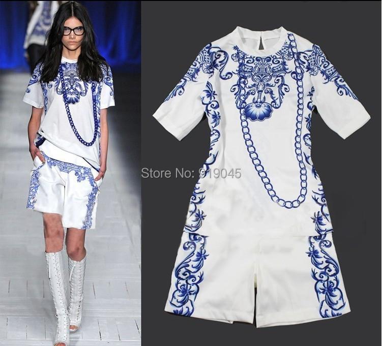 Aegean Fashion green flower porcelain casual silk dress, top and short, blue and white china flower dress, silk garment(China (Mainland))