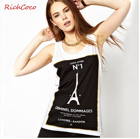 Free shipping women's t shirt Paris Eiffel Tower pattern yet sleeveless vest cotton lady T-Shirt(China (Mainland))