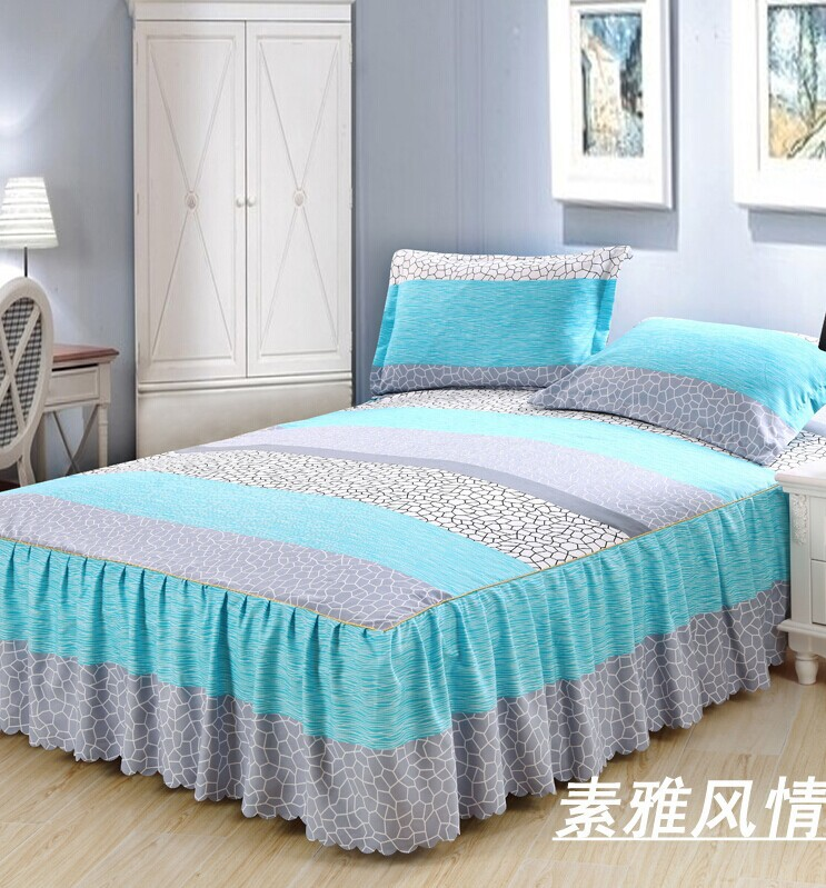 queen bedskrit sunny mood elastic fitted sheet bed cover mattress cover bed skirt bedclothes bedspreads cushion cover 3pcs/set(China (Mainland))