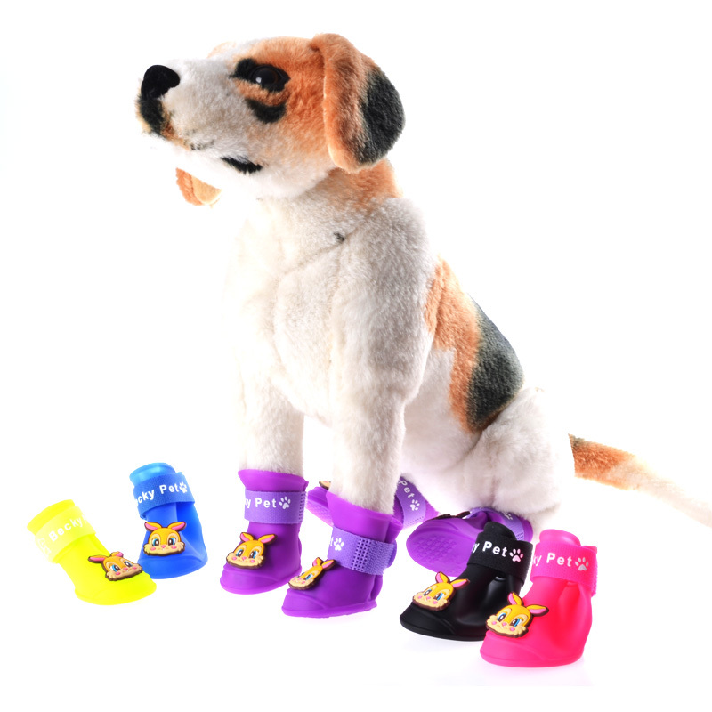 4 Pcs/set Pet Boots 5 Colors Dog Rain Shoes Puppy Walking Outdoor Shoes for Dogs zapatos perro Comfortable Dog Boots(China (Mainland))