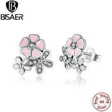 Buy 925 Sterling Silver Poetic Daisy Cherry Blossom Mixed & Clear CZ Pink Flower Women Drop Earrings Jewelry for $6.99 in AliExpress store