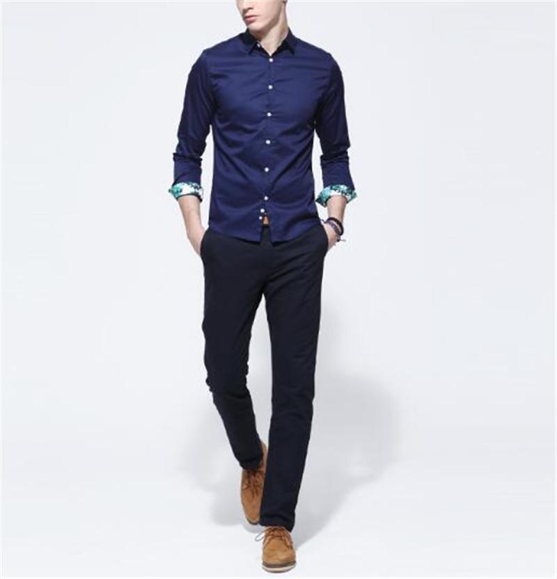 Mens navy blue long sleeve shirt custom shirt for Mens navy dress shirt