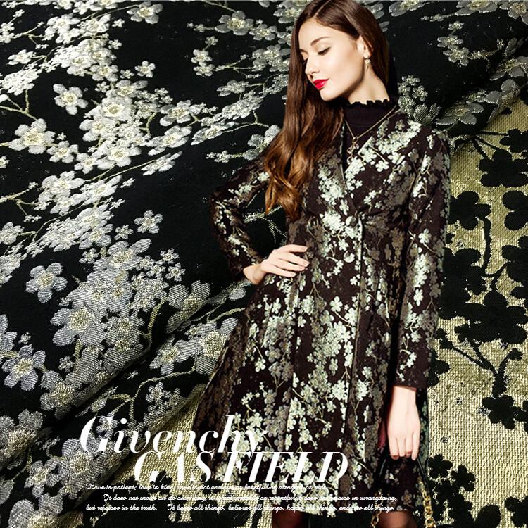 Europe and the United States imported jacquard fabric bronzing plum fashion Givenchy spring fashion dress Tutu windbreaker(China (Mainland))