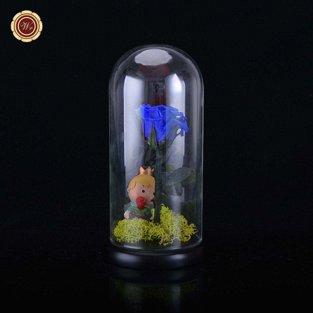 WR Colorful Immortal Flowers Preserved Real Flowers Natural Blue Fresh Rose Glass Cover Gifts Eternal Love Free Shipping(China (Mainland))