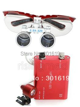 Dentist Dental Surgical Medical Binocular Loupes 2.5X 320mm Optical Glass Loupe + Portable Red LED Head Light Lamp
