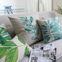 Free Shipping!!Green plant square throw pillow/almofadas case adult 45x45 53x53 60x60,nordic design cushion cover home decore(China (Mainland))