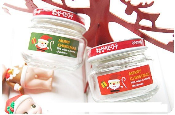 New products!! Red and green Santa Claus gift packaging sealing stickers & DIY sticker / kids gift wholesale free shipping(China (Mainland))