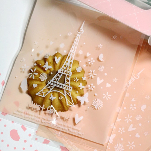 Eiffel Tower Clear Self Adhesive Seal Cookie Bags plastic Cookie Bags for Gift Packaging Wedding Birthday Party Supplies(China (Mainland))