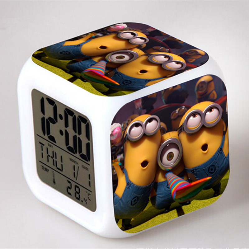 7 Colorful Lovely Cartoon Despicable Me Minions Led Alarm Clock Small Digital Clock Night Light(China (Mainland))